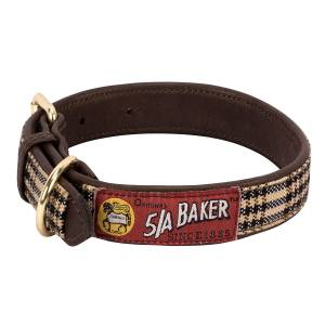Baker Leather Dog Collar With Baker Plaid Overlay