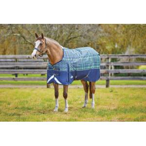 Weatherbeeta Comfitec Plus Dynamic Standard Neck Medium - Navy/Lime Plaid