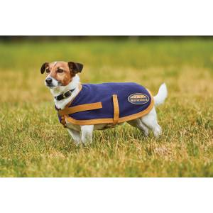 Weatherbeeta Fleece Dog Coat - Navy/Gold