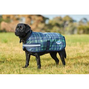 Weatherbeeta Parka 1200D Dog Coat - Navy/Lime Plaid