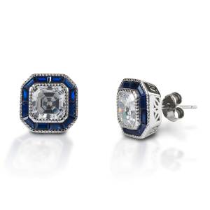 Kelly Herd Asscher Cut/Blue Spinel Earring - Sterling Silver