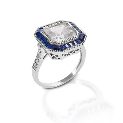 Kelly Herd Large Asscher Cut/Blue Spinel Ring - Sterling Silver