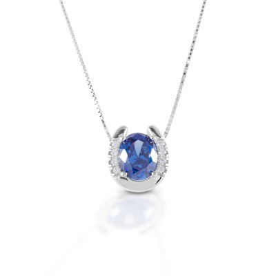 Kelly Herd Blue Stone Horseshoe Necklace  - Sterling Silver