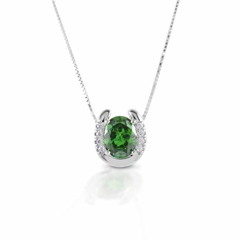 Kelly Herd Green Stone Horseshoe Necklace - Sterling Silver