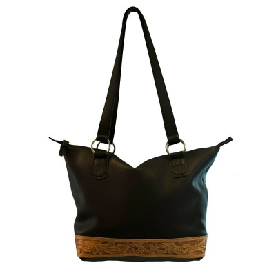 Leather Handbag with Decorative Leaf Tooling - Mia