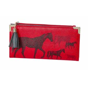 Wallet with Printed Assorted Size Horses Red