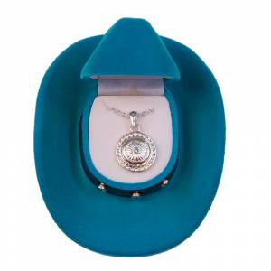 Concho Style Pendant with Blue Stone