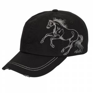 Distressed Baseball Cap with Galloping Horse