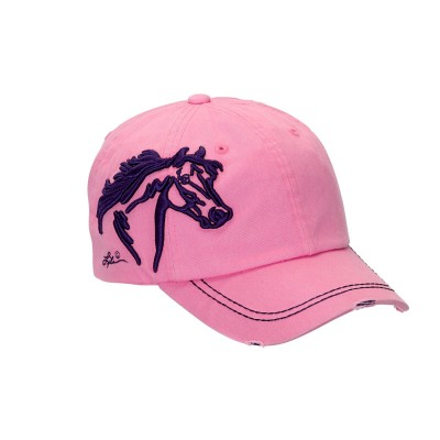 Distressed Baseball Cap with 3D Embroidered Horse Head