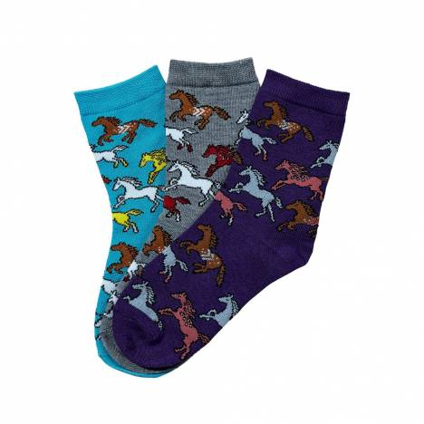 Southwest Running Horses Kids Crew Socks - Three Pack