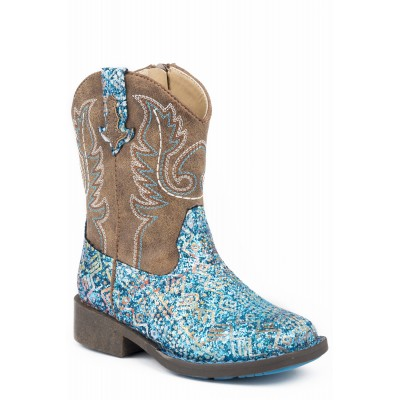 Roper Glitter Azteca - Toddler - Blue Southwest