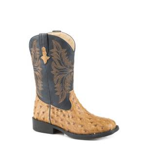 Roper Cowboy Cool Boot - Kids - Tan - Navy