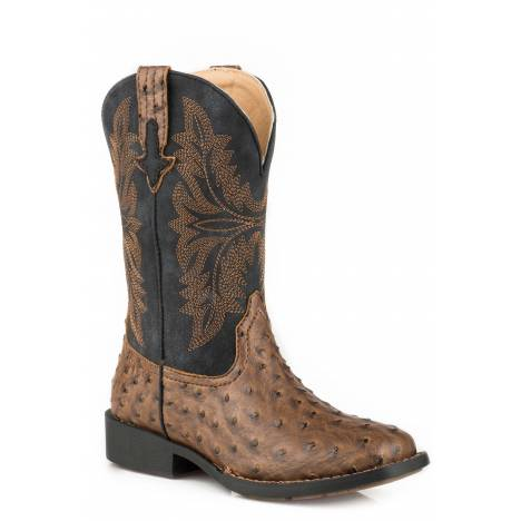 Roper Jed Cowboy Boot - Kids - Brown - Black