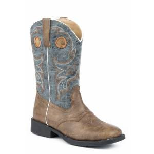 Roper Daniel Cowboy Boot - Kids - Brown - Blue