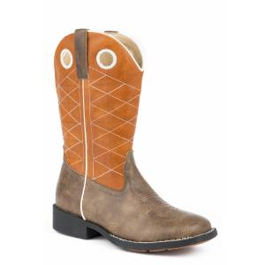 Roper Boone Cowboy Boot - Kids - Brown - Orange