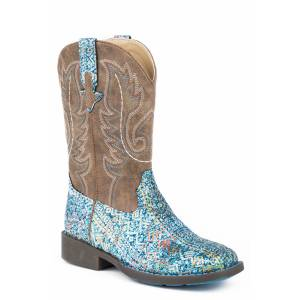 Roper Glitter Aztec Boot - Kids - Blue - Brown