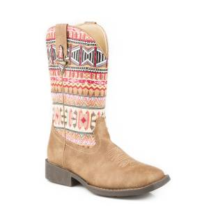 Roper Azteka Boot - Kids - Tan - Print
