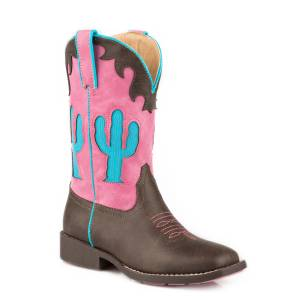 Roper Cactus Boot - Kids - Brown - Pink
