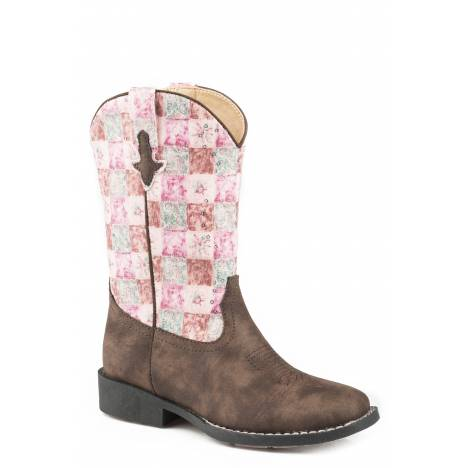 Roper Floral Shine Boot - Kids - Brown - Pink