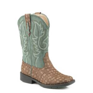 Roper Gator Boot - Kids - Brown - Green