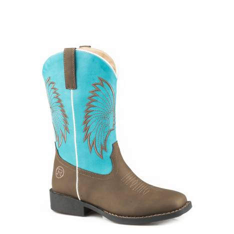 Roper Big Chief Boot - Kids - Brown - Turquoise