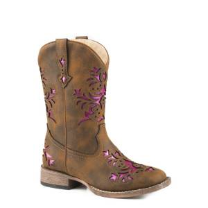 Roper Lola Brown Square Toe Western Boots-Kids