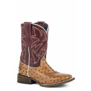 Roper Ozzie Square Toe Exotic Western Boots-Kids