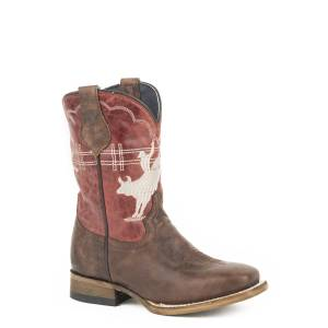Roper Bull Rider Square Toe Western Boots-Kids