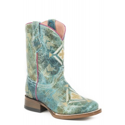 Roper Addy Square Toe Western Boots-Kids