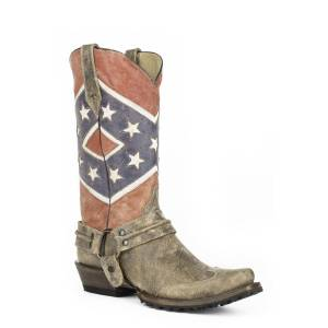 Roper Mens Rebel Biker Flag Bandit Toe Boots