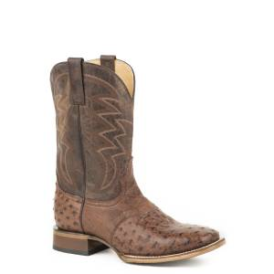 Roper Deadwood Boot - Mens - Brown Ostrich/Brown
