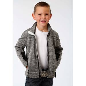 Roper Bonded Fleece Lightweight Jacket-Boys-Grey