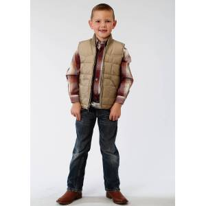 Roper Rangegear Down Vest-Boys-Brown