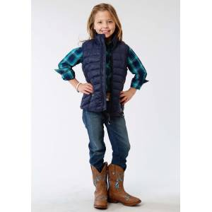 Roper Rangegear Down Vest - Girls - Steel Blue