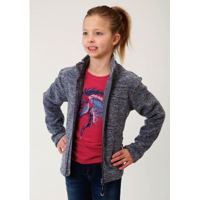 Roper Rangegear Light Weight Micro Fleece Jacket - Girls - Cationic Navy