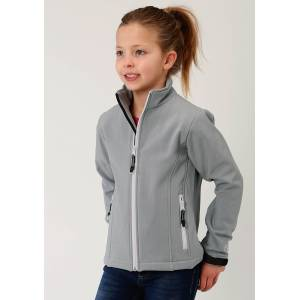 Roper Bonded Soft Shell with Fleece Jacket - Girls - Grey