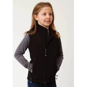 Roper Hi Tech Soft Shell Bonded Fleece Vest - Girls - Black
