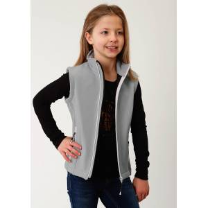 Roper Hi Tech Soft Shell Bonded Fleece Vest - Girls - Grey