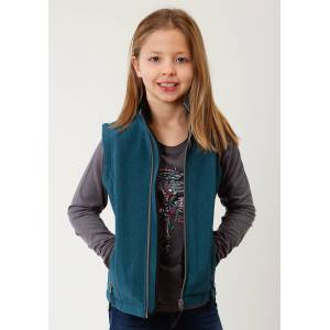Roper Hi Tech Soft Shell Bonded Fleece Vest - Girls - Teal