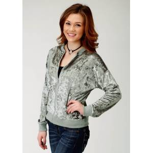 Roper Crushed Velvet Bomber Jacket-Ladies-Silver