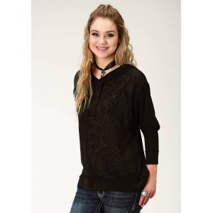 Roper Sweater Knit Hoodie-Ladies-Black