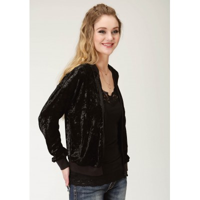 Roper Crushed Velvet Bomber Jacket- Ladies-Black