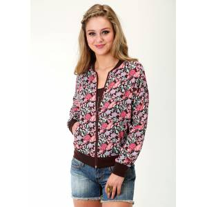 Roper Rayon Bomber Jacket- Ladies-Brown Floral