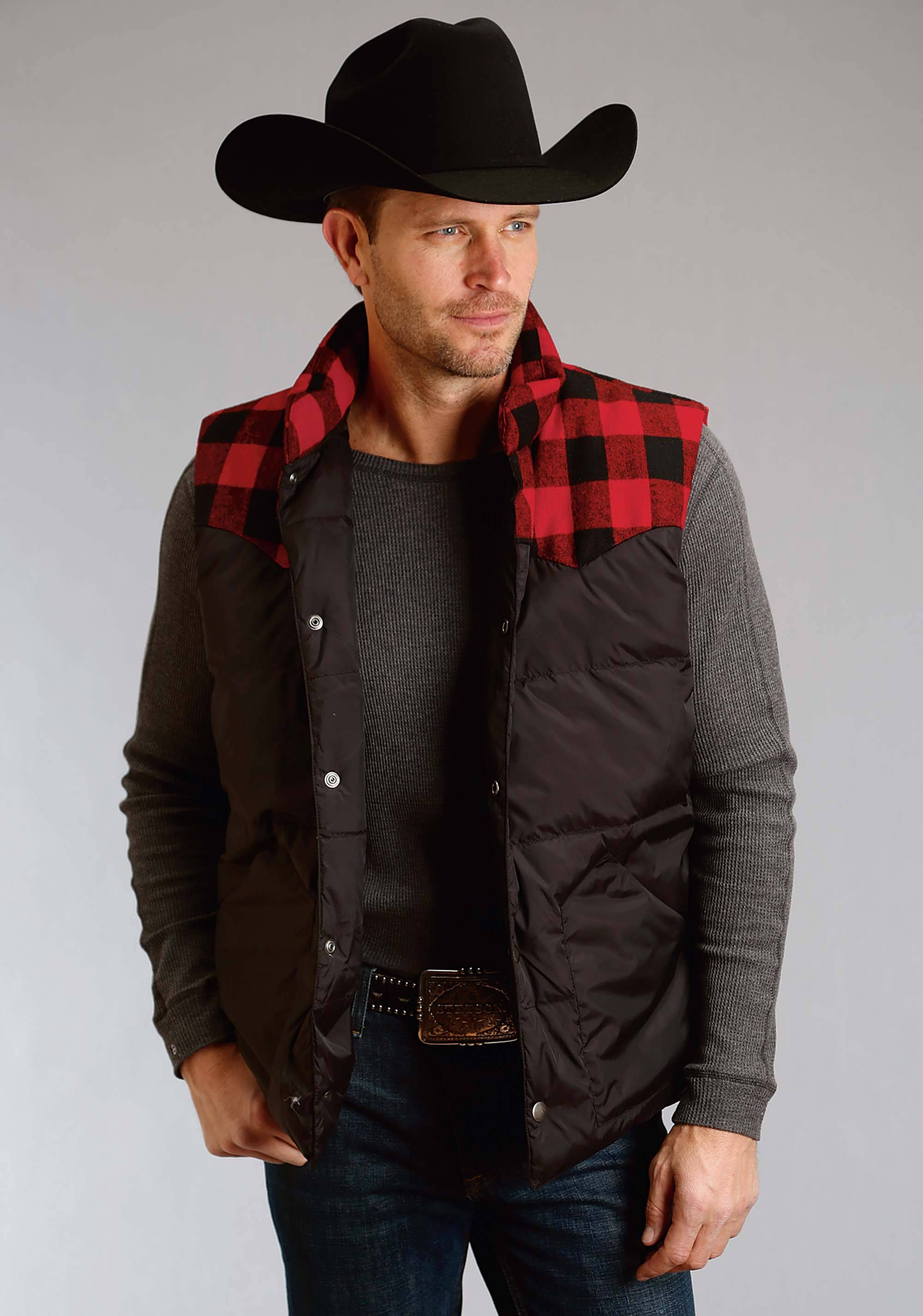 80 99 Stetson Nylon Quilted Vest Mens Black Red