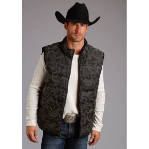 Stetson Sueded Camo Vest - Mens - Black Camo