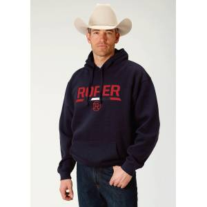 Roper Embroidered Applique Hooded Sweatshirt - Mens - Navy - Red