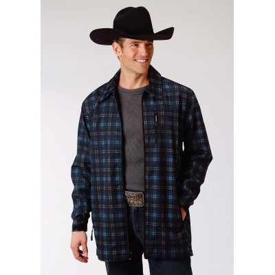 Roper Soft Shell Mesh Lined Barn Jacket - Mens - Blue Plaid