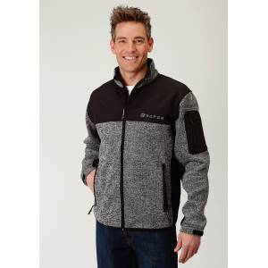 Roper Sweater Bonded Fleece Jacket - Mens - Black/Grey