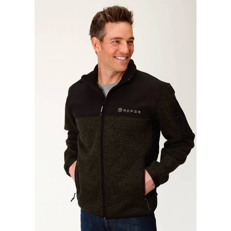Roper Sweater Bonded Fleece Jacket - Mens - Green/Black