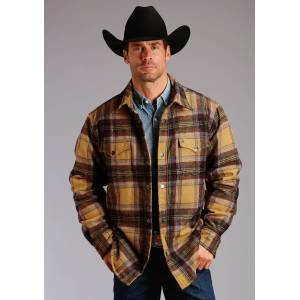 Stetson Quilted Shirt Jacket - Mens - Wine Plaid